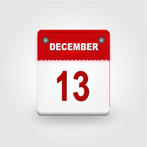 December calendar highlighting the 13th