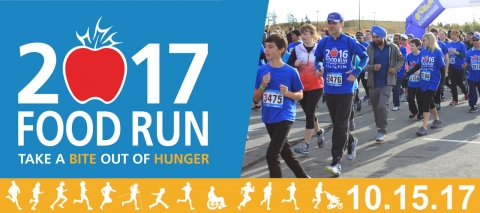 Poster for 2017 food run with people running