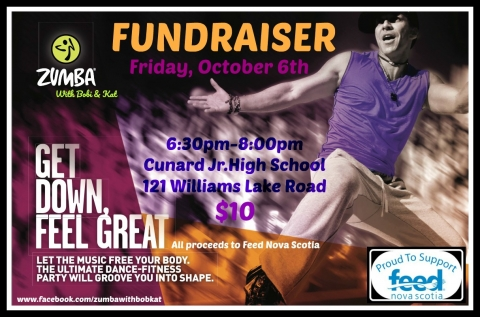 Zumba fundraiser poster with a man exercising