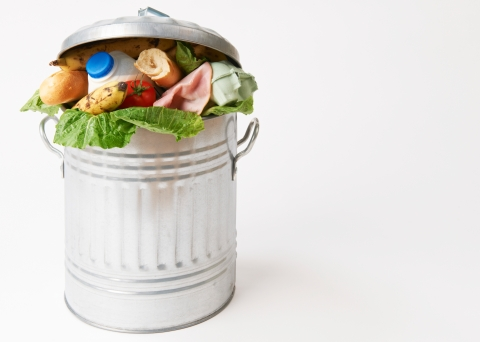 Photo of a garbage can with good food inside of it