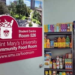 A door opening to the SMU community food room