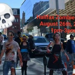 People dressed as zombies walking in the street
