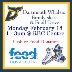 Poster of Dartmouth Whalers family skate and food drive