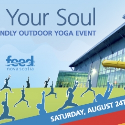 graphic of people doing yoga on the lawn of the Canada Games Centre