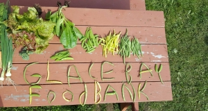vegetables on a table spell out the words Glace Bay Food Bank