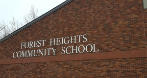 school sign at Forest Heights Community School in Chester